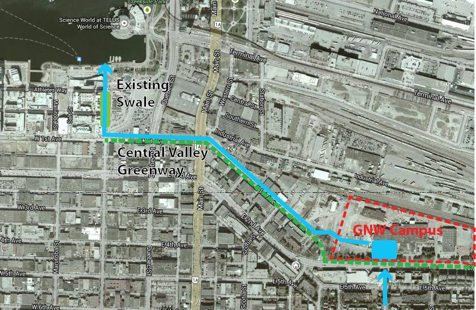 One option for connecting the rainway to False Creek via the GNW campus, Central Valley Greenway, and an existing swale in the Olympic Village.
