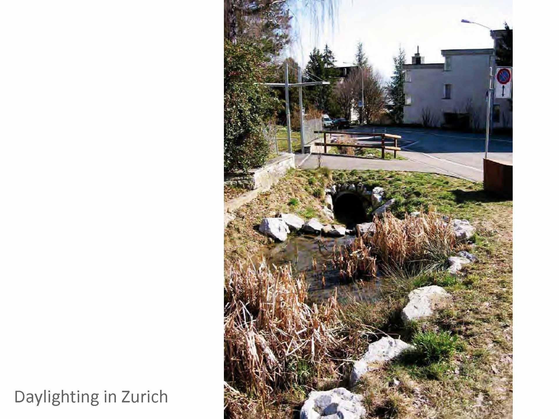 Zurich's constructed streams are designed to carry 3 to 5x the dry weather flow, with the excess going into the sewer.