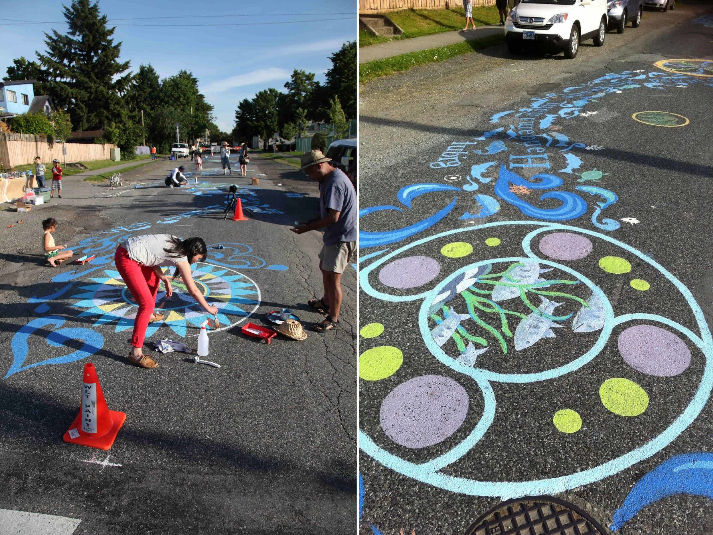 With participation by the children and other members of the community, the Rainway painted a mural along one block of St. George Street, by Mt Pleasant Elementary school in June of 2012.  The mural highlights the life cycle of salmon and includes the words for water in languages spoken by neighbours.