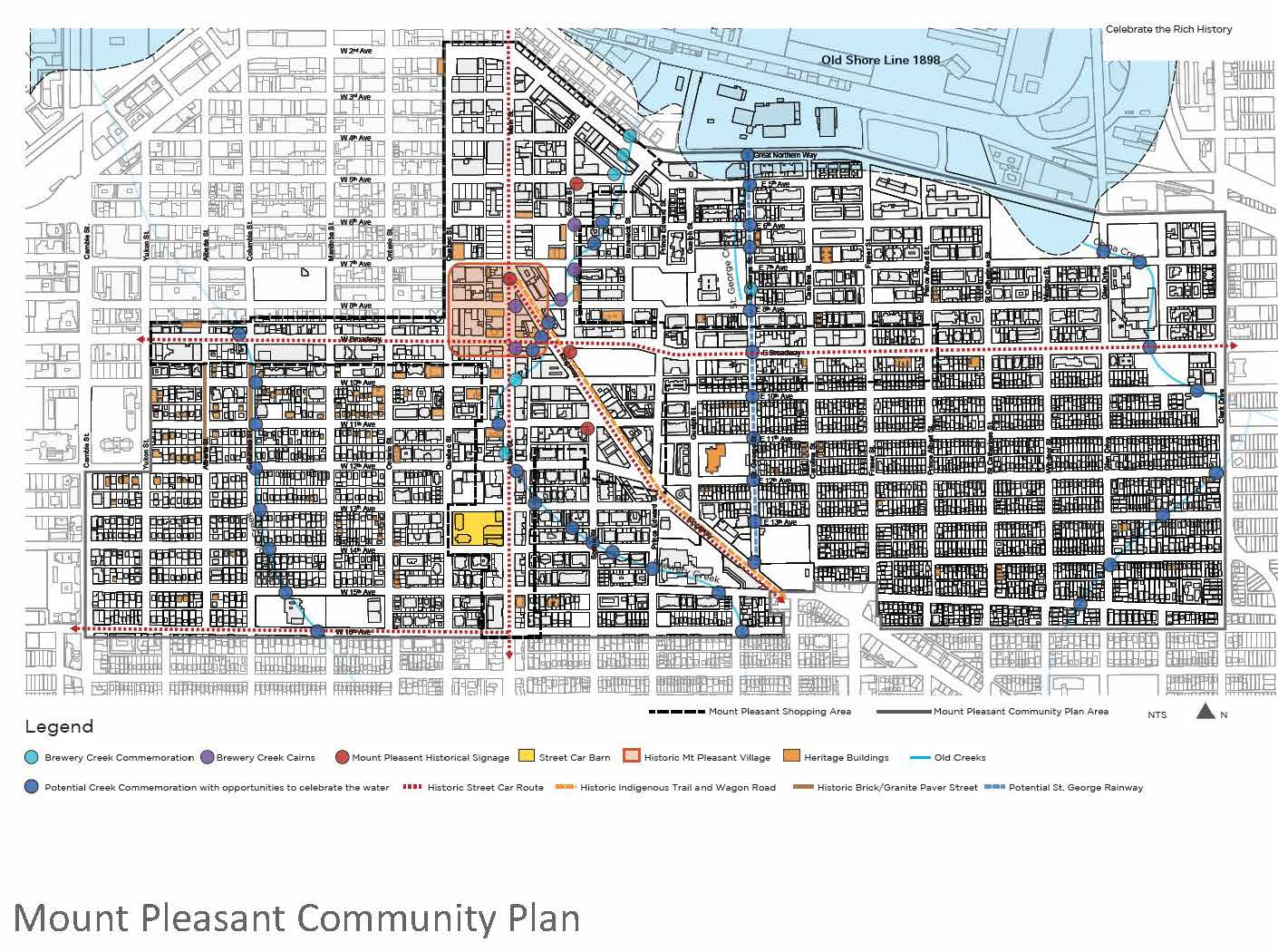 We were pleased to have the Rainway included in the Mt Pleasant Community Plan in 2013. The plan recognizes the Rainway as a potential public realm project that celebrates the historical creeks in the neighbourhood.