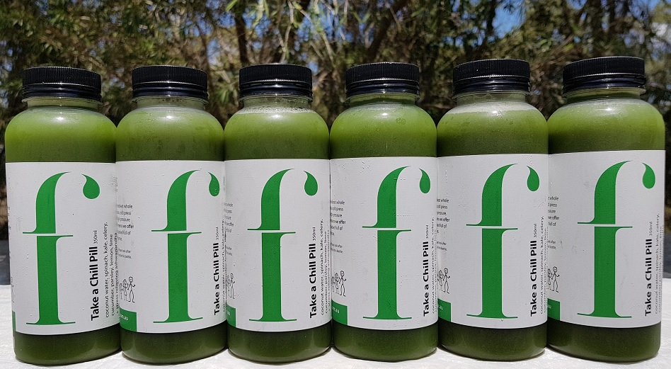 "Take a Chill Pill   Once you get hooked on green juice, you'll naturally start wanting more. Enter ""Take A Chill Pill."" Sweetened only with coconut water, this juice contains a mass of immune boosting antioxidants and alkalising compounds.   *Coconut water, spinach, cucumber, celery, kale, parsley, lemon, lime,"
