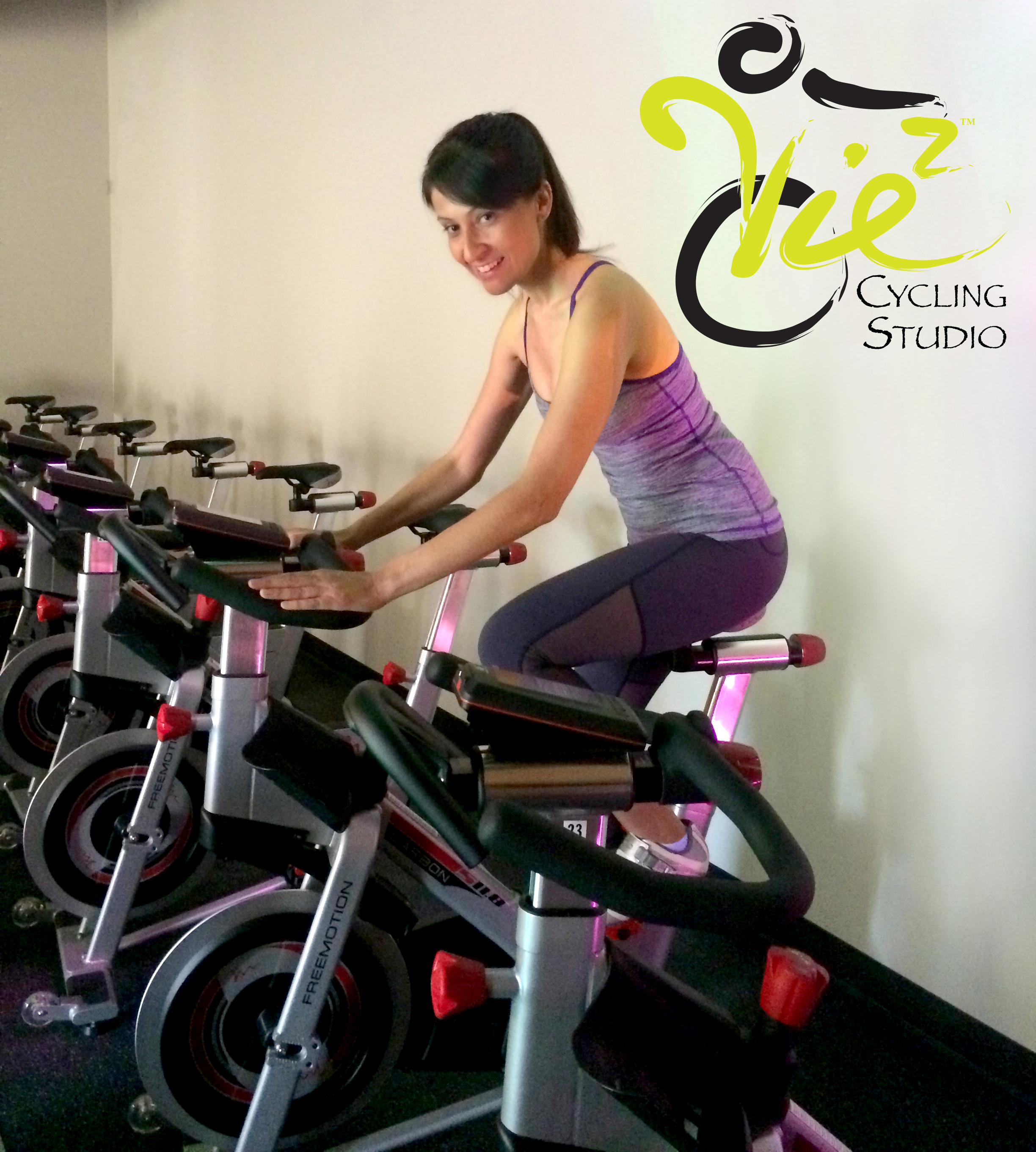 Selma at Vie 2 Cycling Studio - the cycling studio she manages. Nursing skills are very transferable.