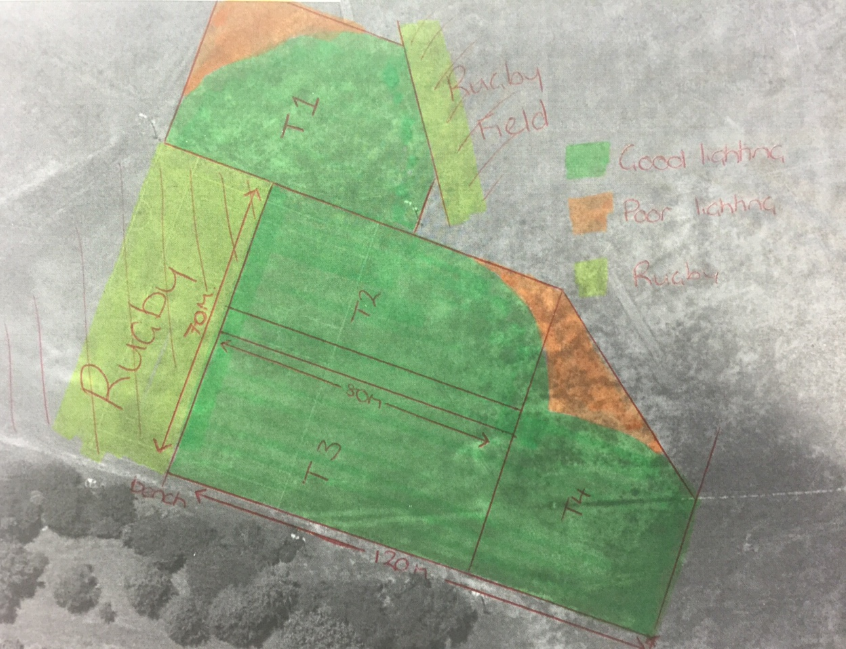 Green Area = Good Lighting Orange Area = Poor Lighting Yellow Area = Rugby Training Area  T1 = New Training Area under new lights for Football & Rugby up to the bench.   *Please continue to be mindful of Rugby's Training areas – we don't pay to train on their areas just like they don't pay to train on ours. Thankyou J