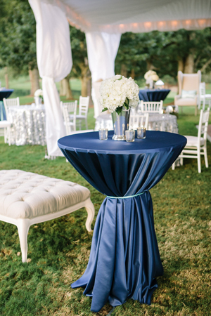 Locklane Weddings & Events, Nashville Planner | Satin, Navy Blue Cocktail Table with All-White Decor
