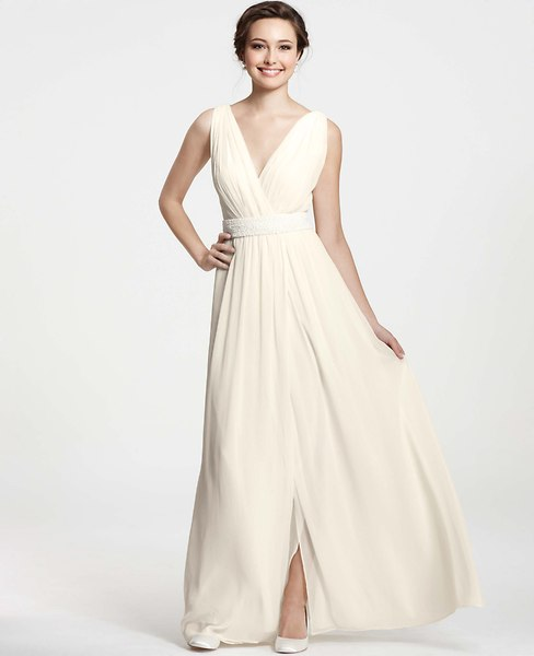 Locklane Weddings & Events | Inexpensive, Ann Taylor Goddess V-neck Wedding Dress