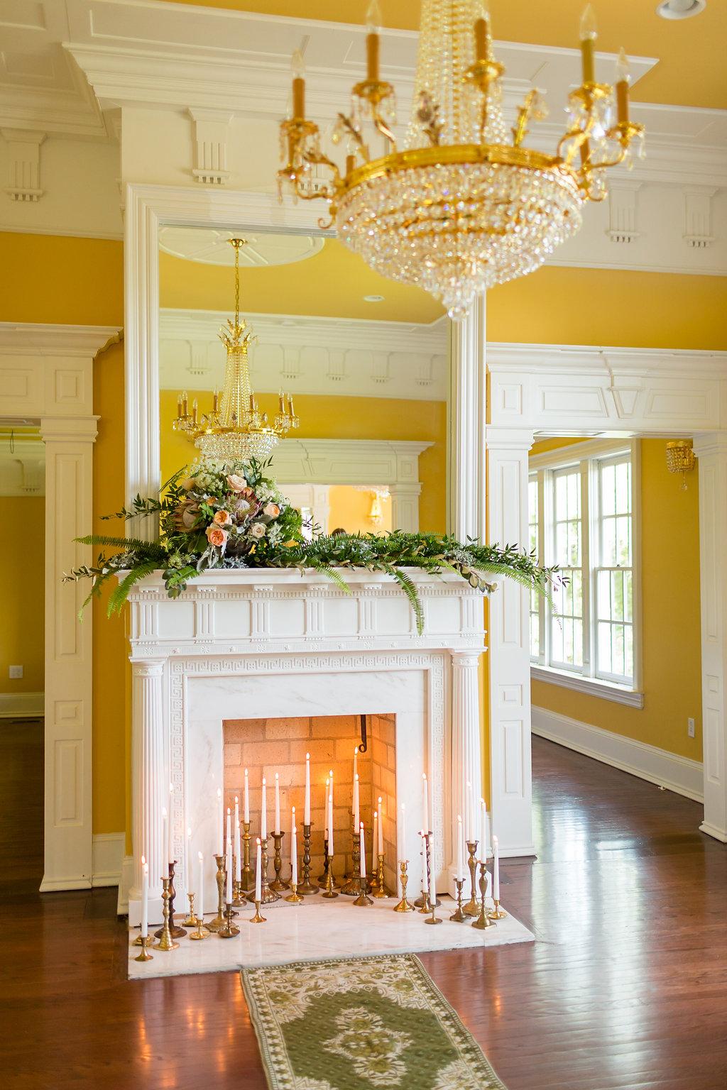 Locklane Weddings & Events +Fireplace + Wedding Inspiration + GranDale Manor + Caley King Newberry
