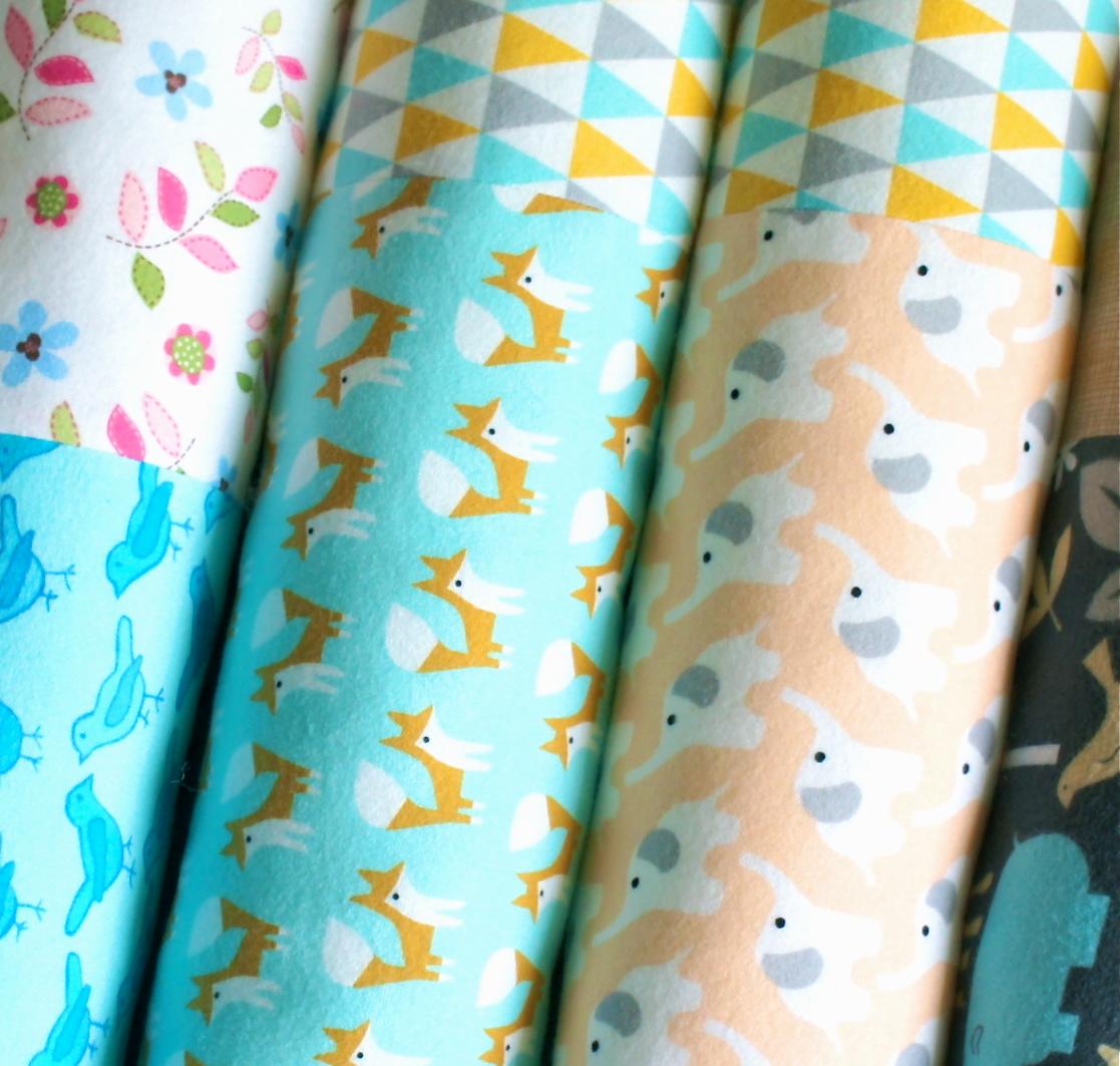 Organic fabric - Fox and Elephant