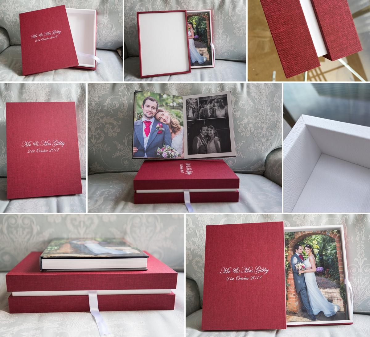 Design Box with Portrait Album.... White maple and Burgundy linen.......
