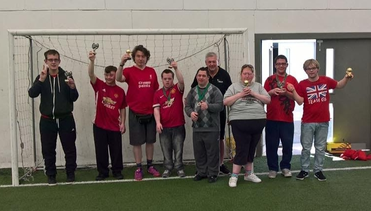Colin coaching Saturday's disability football session at Conwy borough FC