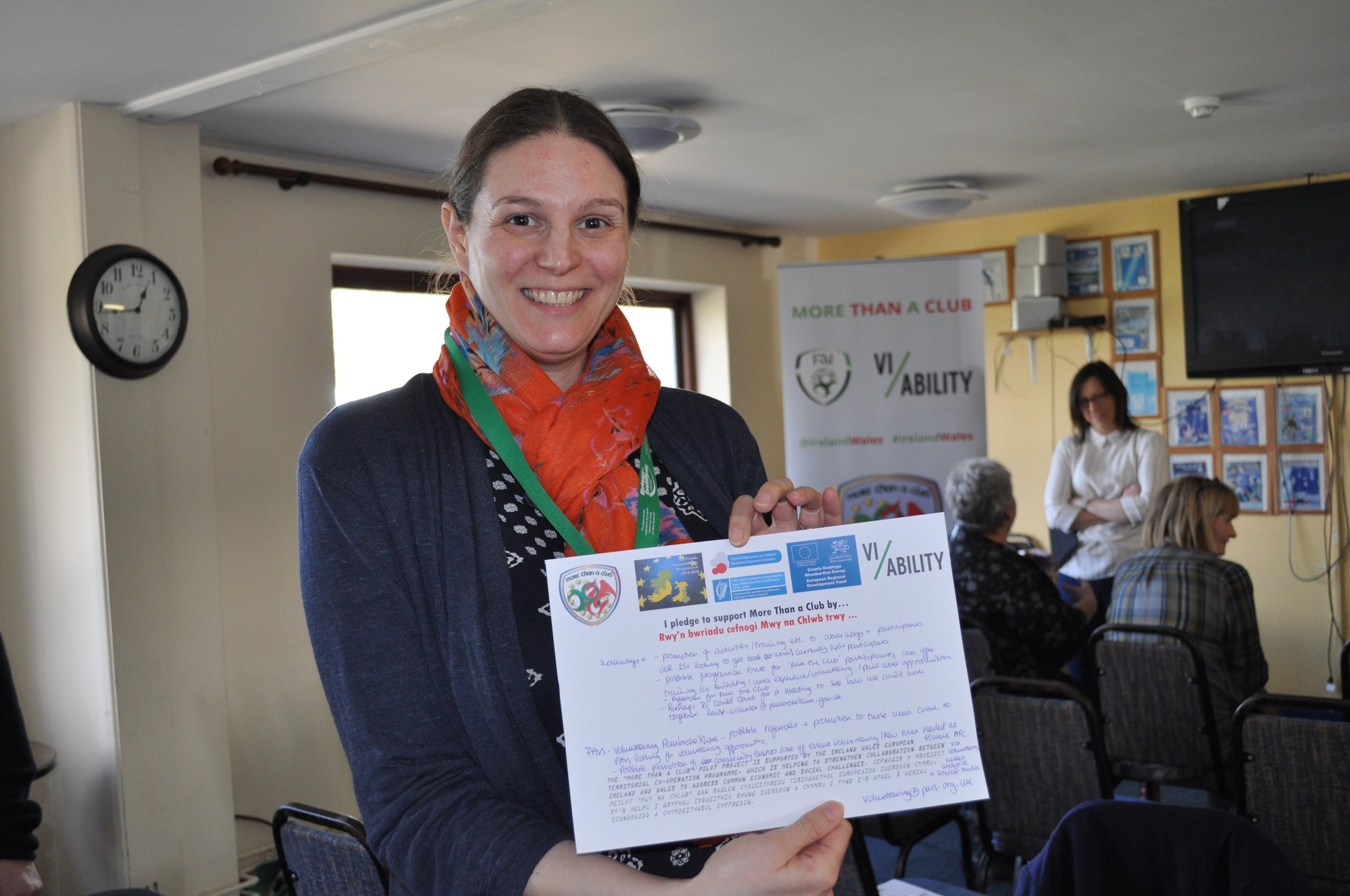 Louise of Workways+ pledging her support to the project