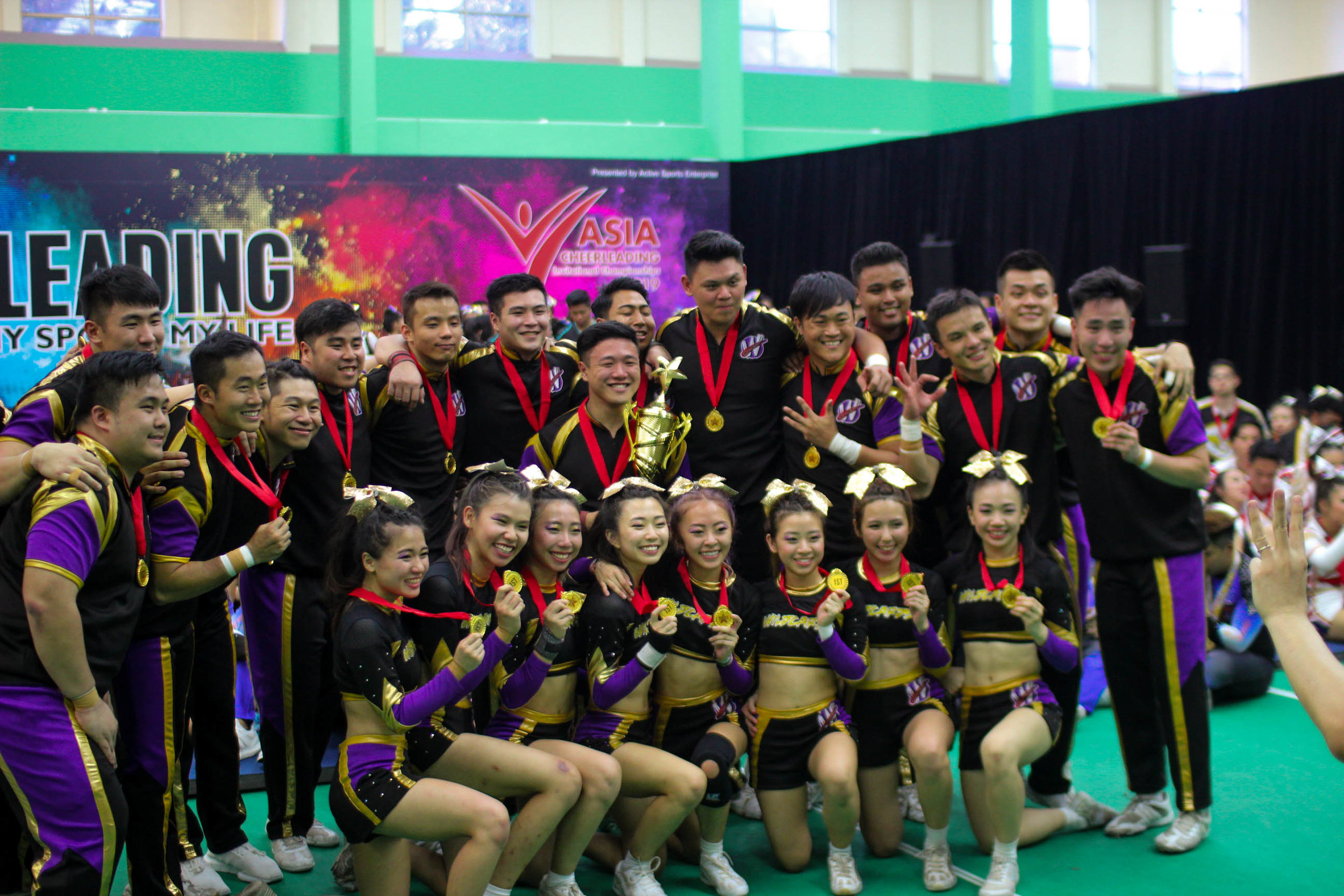 Wildcards Cheerleading Team: CASNCC and ACIC 2019 Champions.  CASNCC champions for the 9th time!