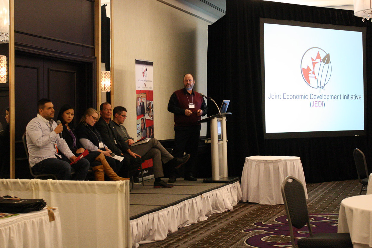 From left to right: Shane Perley-Dutcher, Sally Ng, Danielle Collin, Dave Chisholm, Hugh Hicks, Charles Harn (moderator)