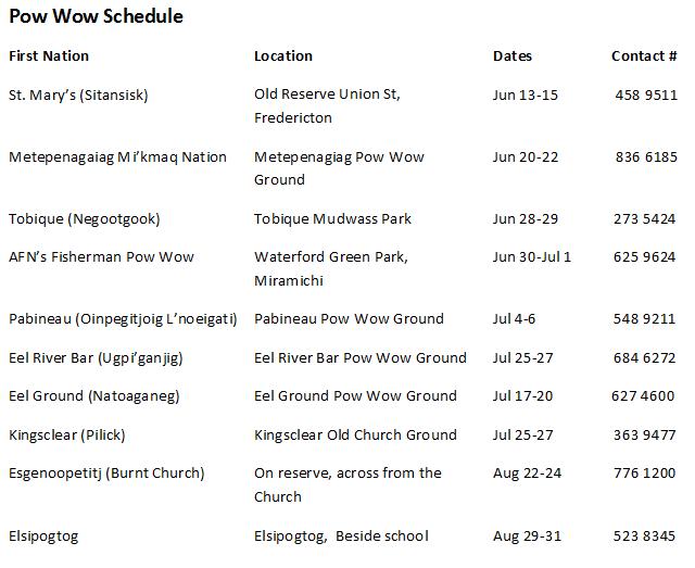 NB 2014 POW WOW schedule