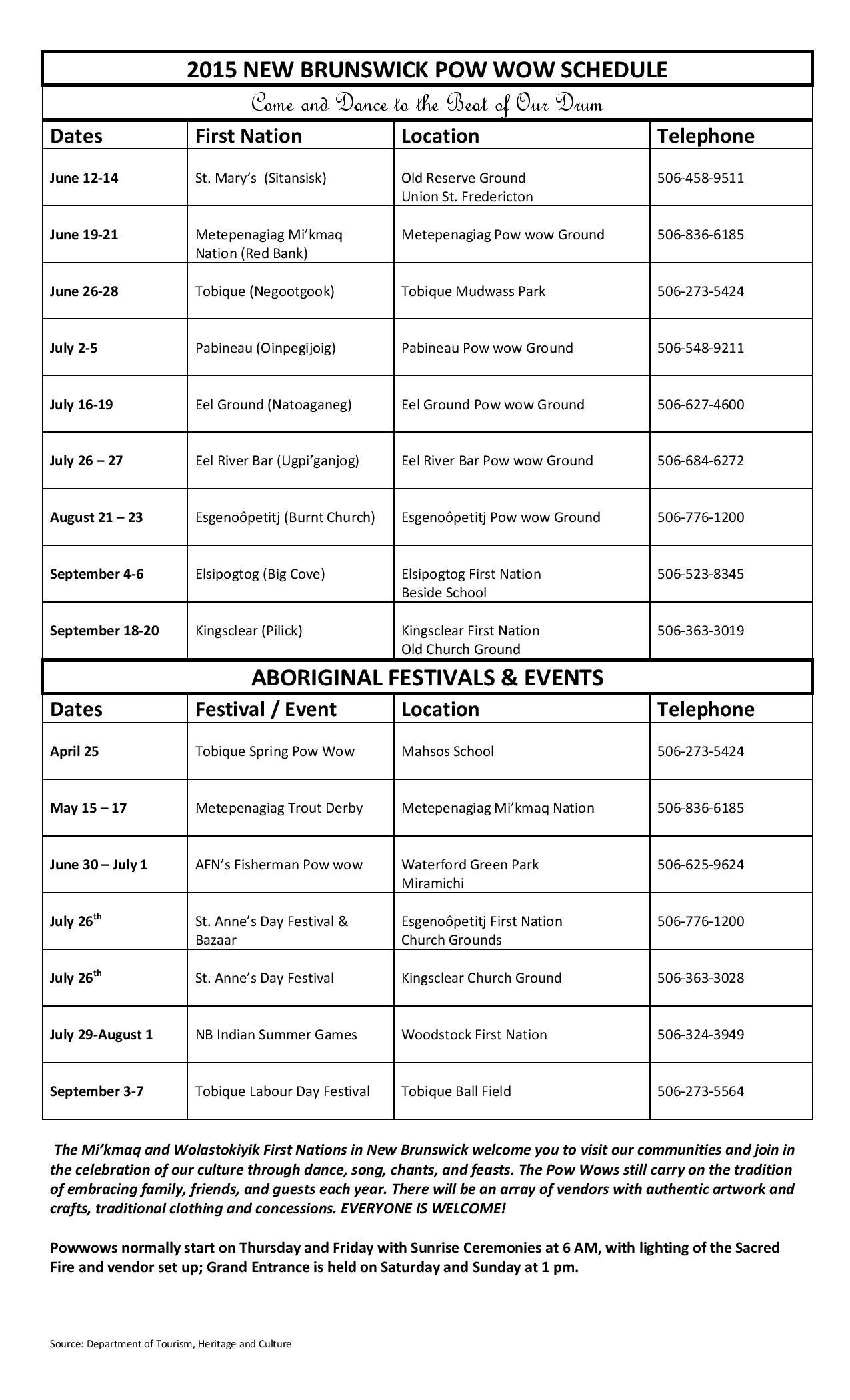New Brunswick Pow Wow Schedule 2015