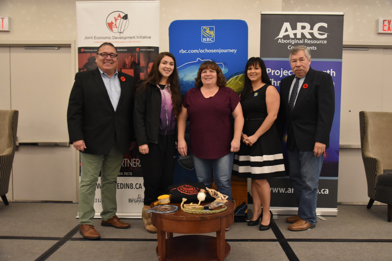 (Left to right) David Paul of Aboriginal Resource Consultants, Amethyst, Genevieve Mary Murphy, Amanda Devison of RBC, Alex Dedam, President of JEDI