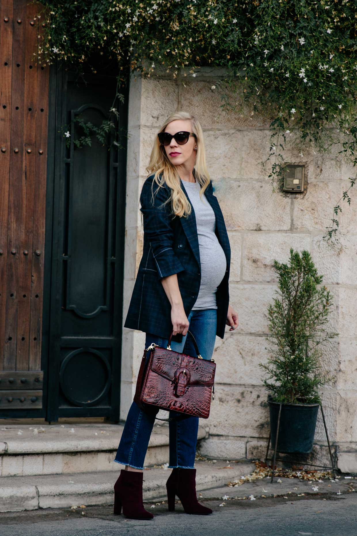 Meagan-Brandon-fashion-blogger-wears-plaid-blazer-with-straight-leg-jeans-and-booties-fall-maternity-outfit-top-trends-for-fall-2017-plaid-blazer.jpg