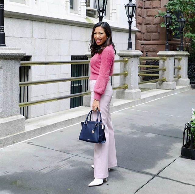 Our girl @societysocial makes monochrome pink-on-pink even more chic with a fresh pop of Navy Topsail! #answerwithbrahmin