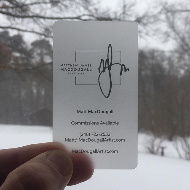 Check out my business cards from @behindyourdesign ... I love that they are translucent just like the beeswax I use to paint with.  I also like that because they are plastic if you drop them in the snow they are just fine (also waterproof just like beeswax)... see what we did there? #marketing #advertising #businesscards #michiganartist #artist thank you @behindyourdesign