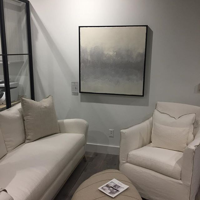 A first glimpse of some of my work installed this past week at the #chlifestyle gallery in the @michigandesigncenter.  I am thrilled to be doing business with @chathamhouseinteriordesign and @sur.fa.ces surrounding such beautiful @verellenfurniture  #encaustic #encausticart #encausticpainting #artist #michiganartist #loveverellen
