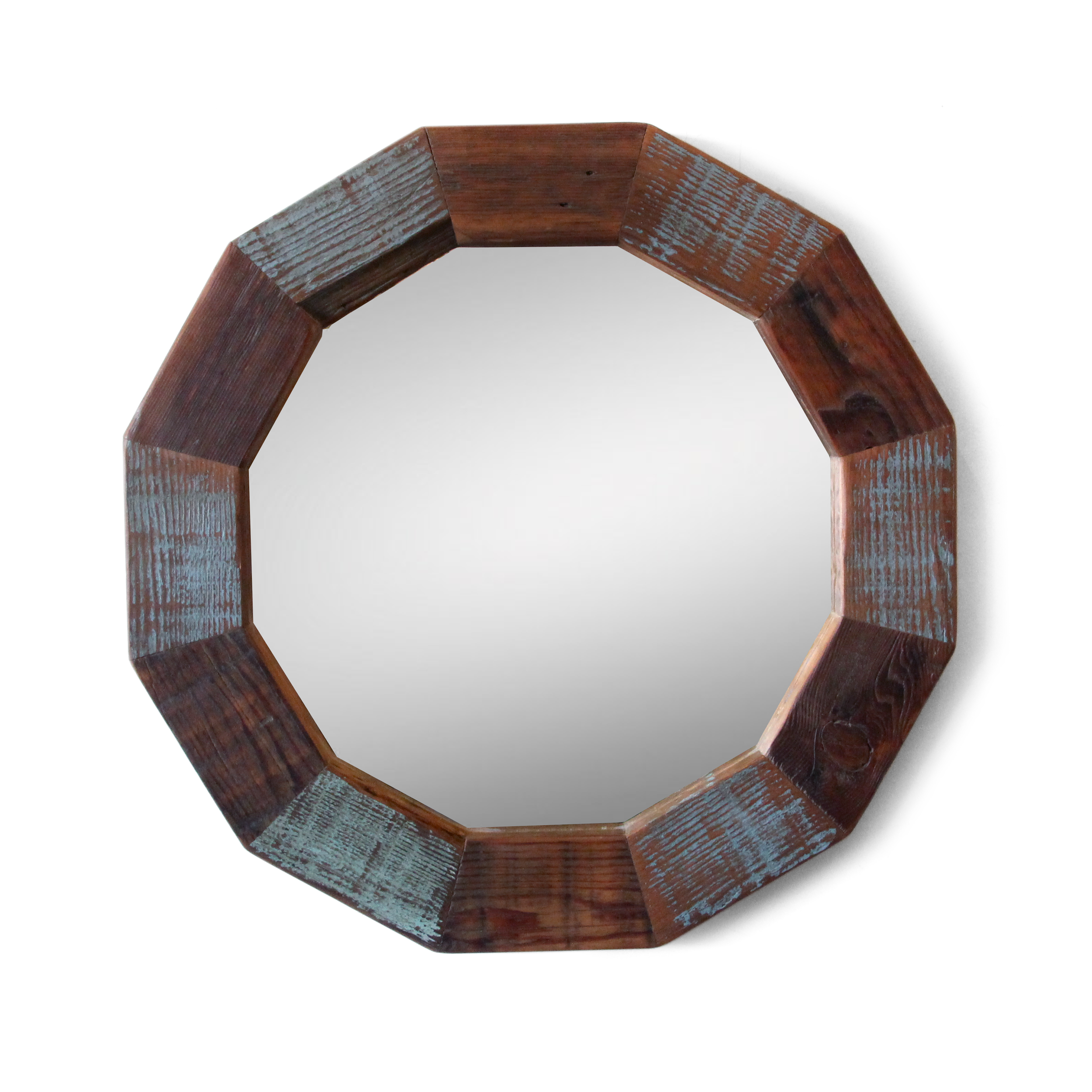 Round Cottage Mirror | Reclaimed Wood | The Bayou