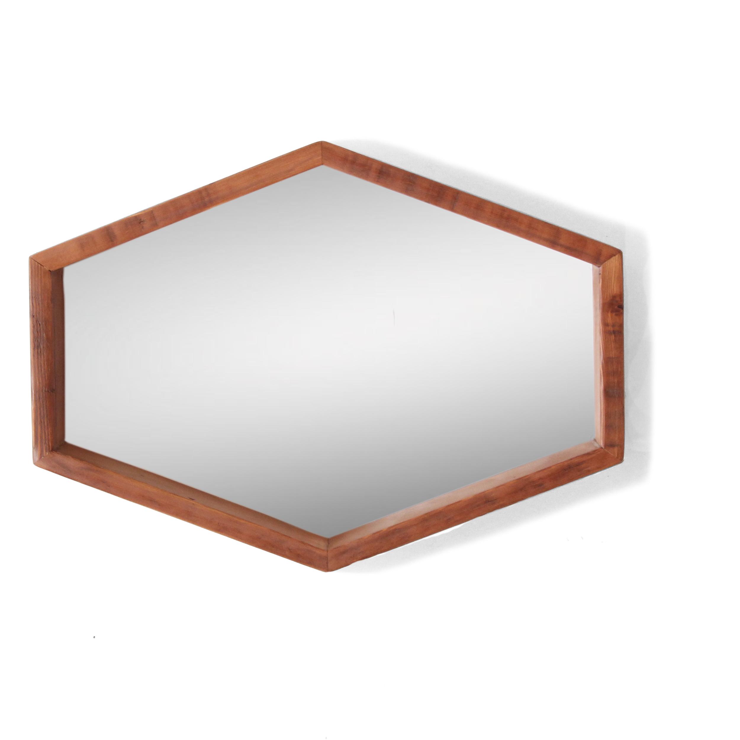 Hexagon Mirror Wide   Reclaimed Wood   The Sundberg