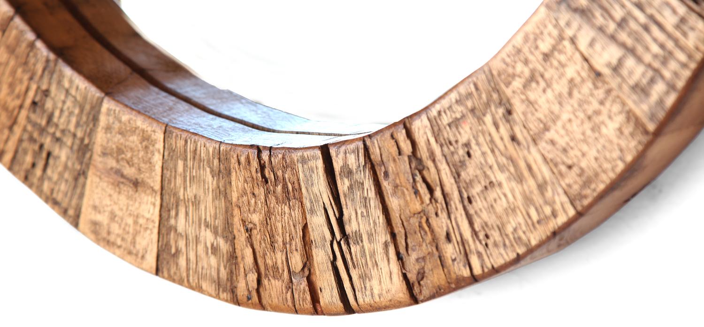 Round Mirror Reclaimed Wood