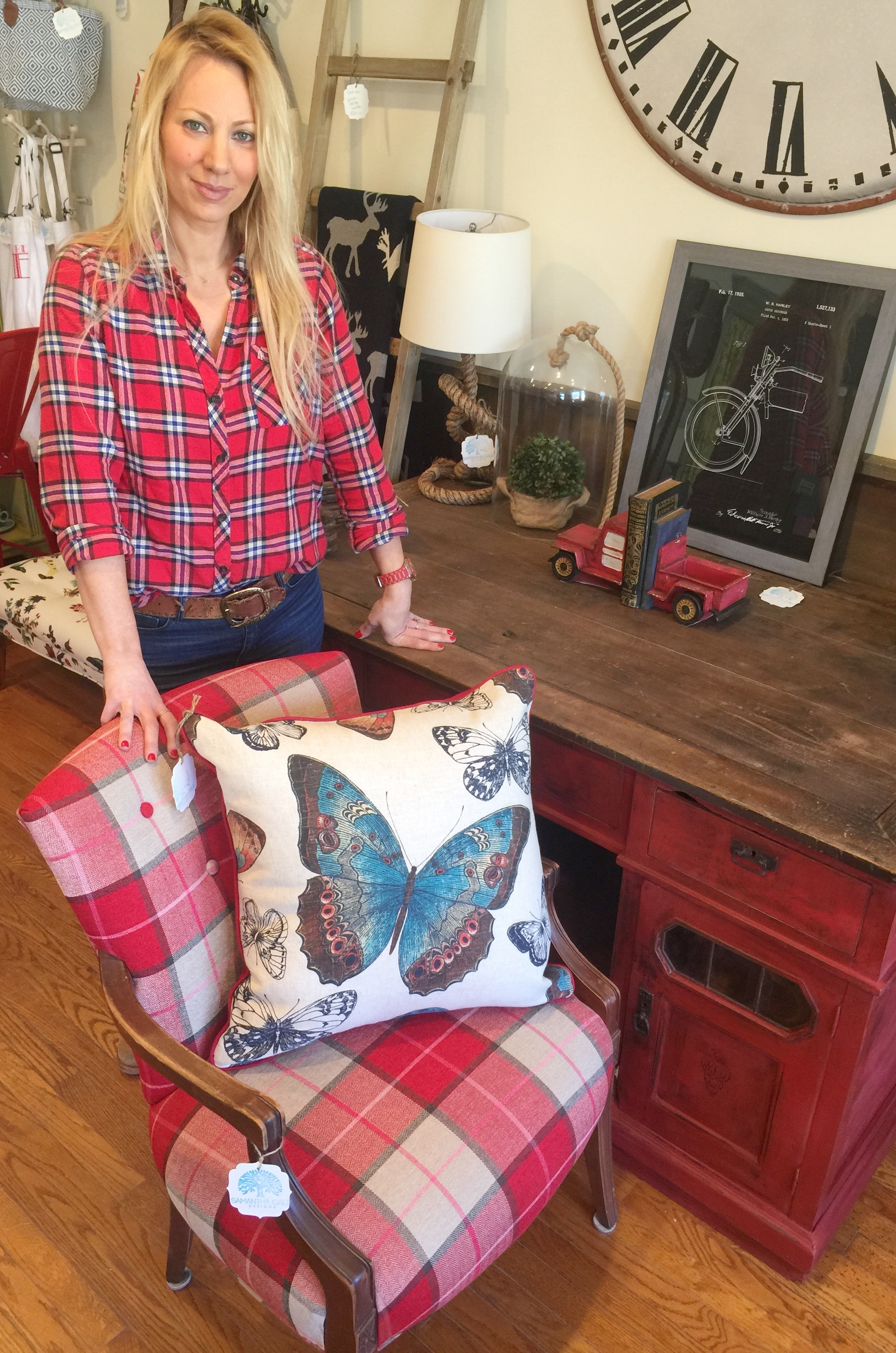 Samantha Gale Thomas Owner/Designer with Vintage Turn of Century Redesigned Barn Desk and Custom Chair and Linen Butterfly Pillow