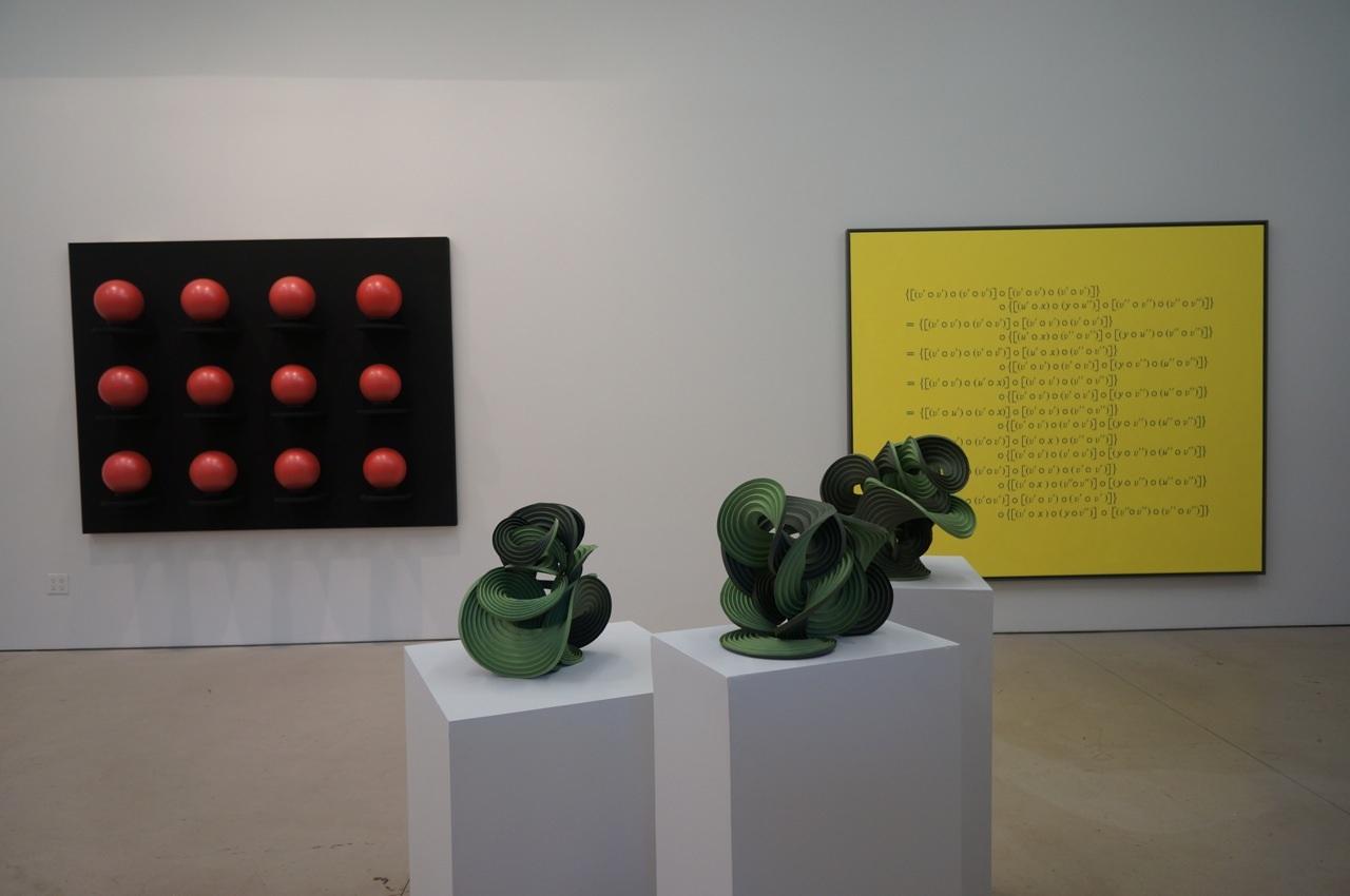 Jane Philbrick, Floating Sculpture '09, 2009 (left); Erik and Martin Demaine, 0271, 0272, 0273, 2012 (center); Bernar Venet, Related to: 'Commutative Operation', 2001 (right)