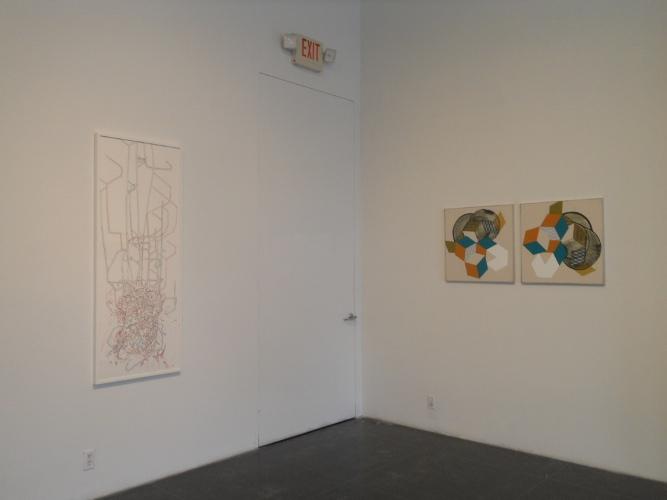 Felice Grodin, Networked, 2012 (left); Ramon Bofill, Rhombi: Orange, Turquoise, White, #1, 2012 (right)