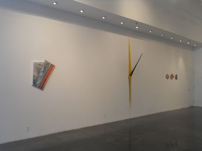 Peter Hammar, Crude Geometry, #5, 2012 (left); Felice Grodin, Rising-falling index, 2012/13 (center); Sarah Walker