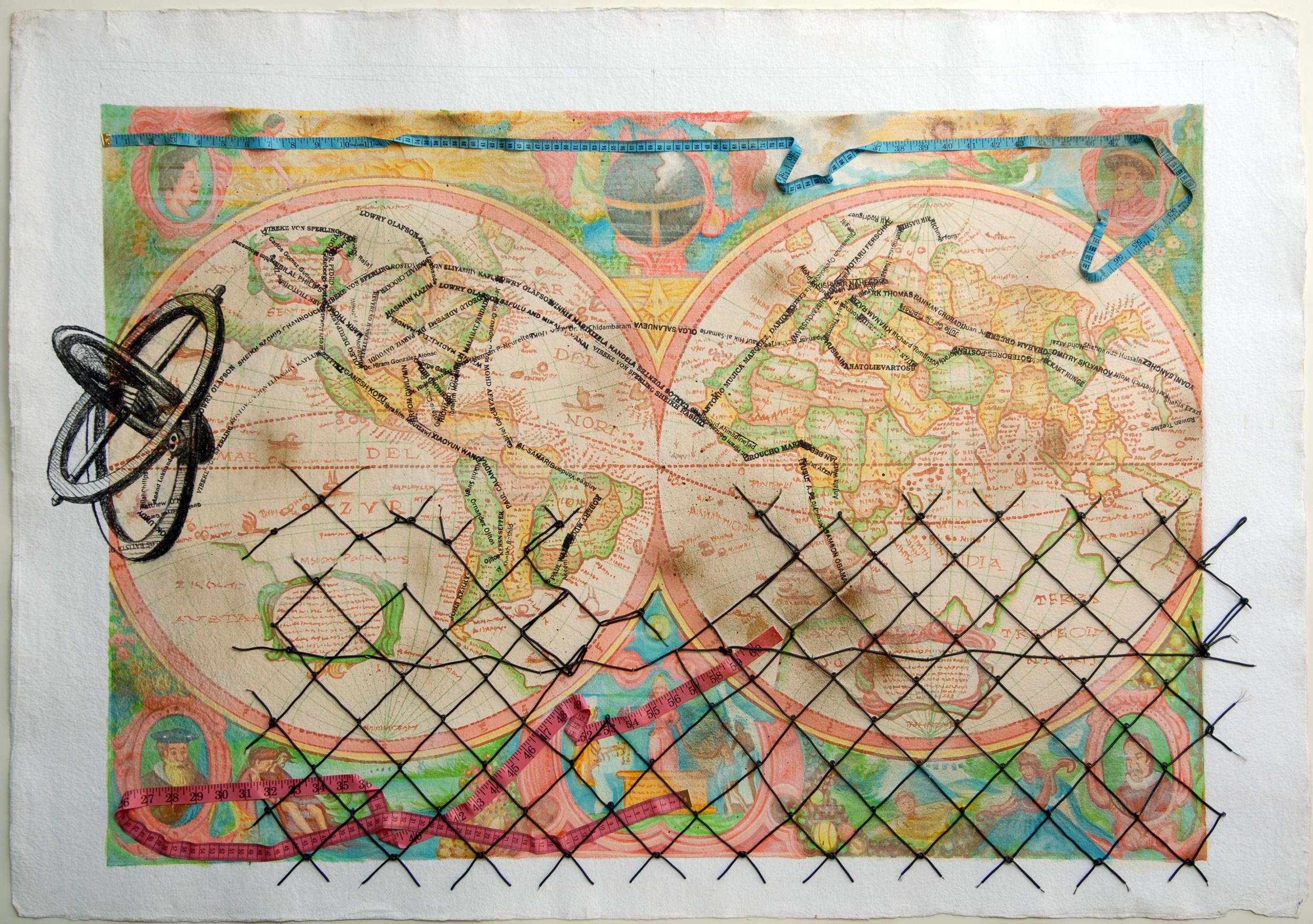 Reena Saini Kallat, Anatomy of Distance, 2013, mixed media on handmade paper