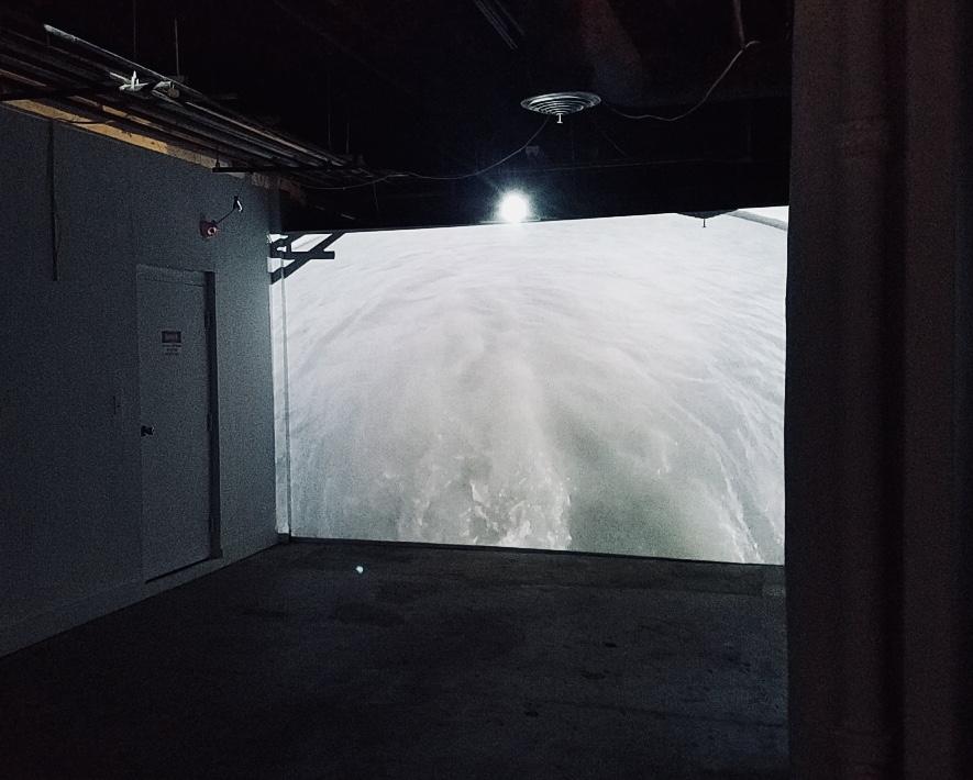 Ósk Vihjálmsdóttir    Stream.  2014  2-channel video projection (project room) Loop