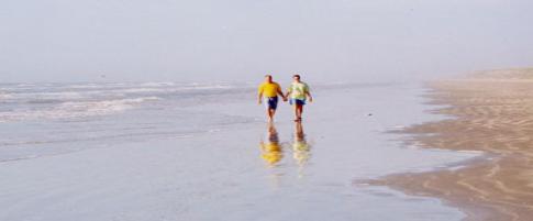 Walking beach of Quintana Beach County Park