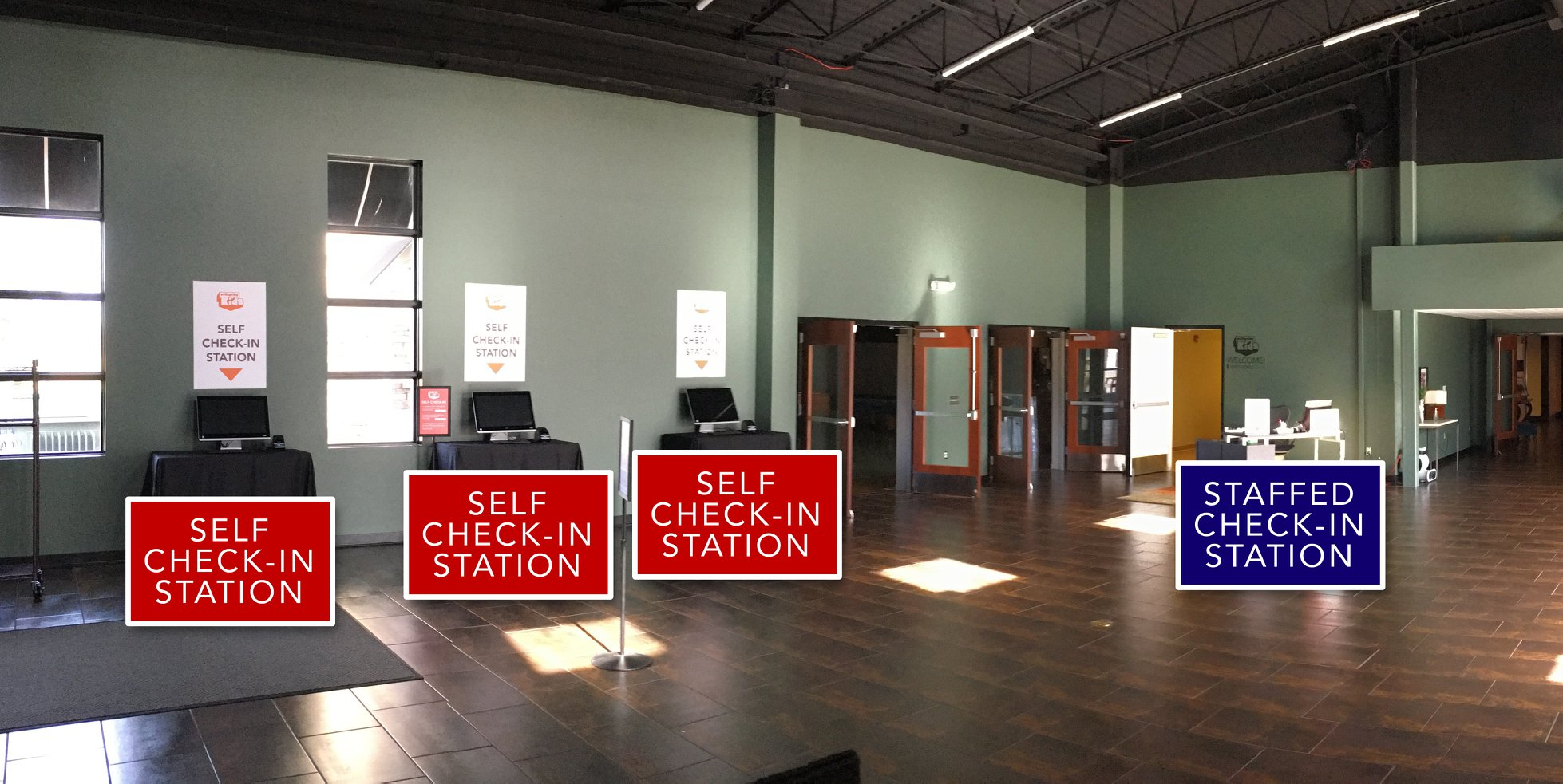 This location in the South Hall contains a staffed check-in station to help your kids get where they need to go.