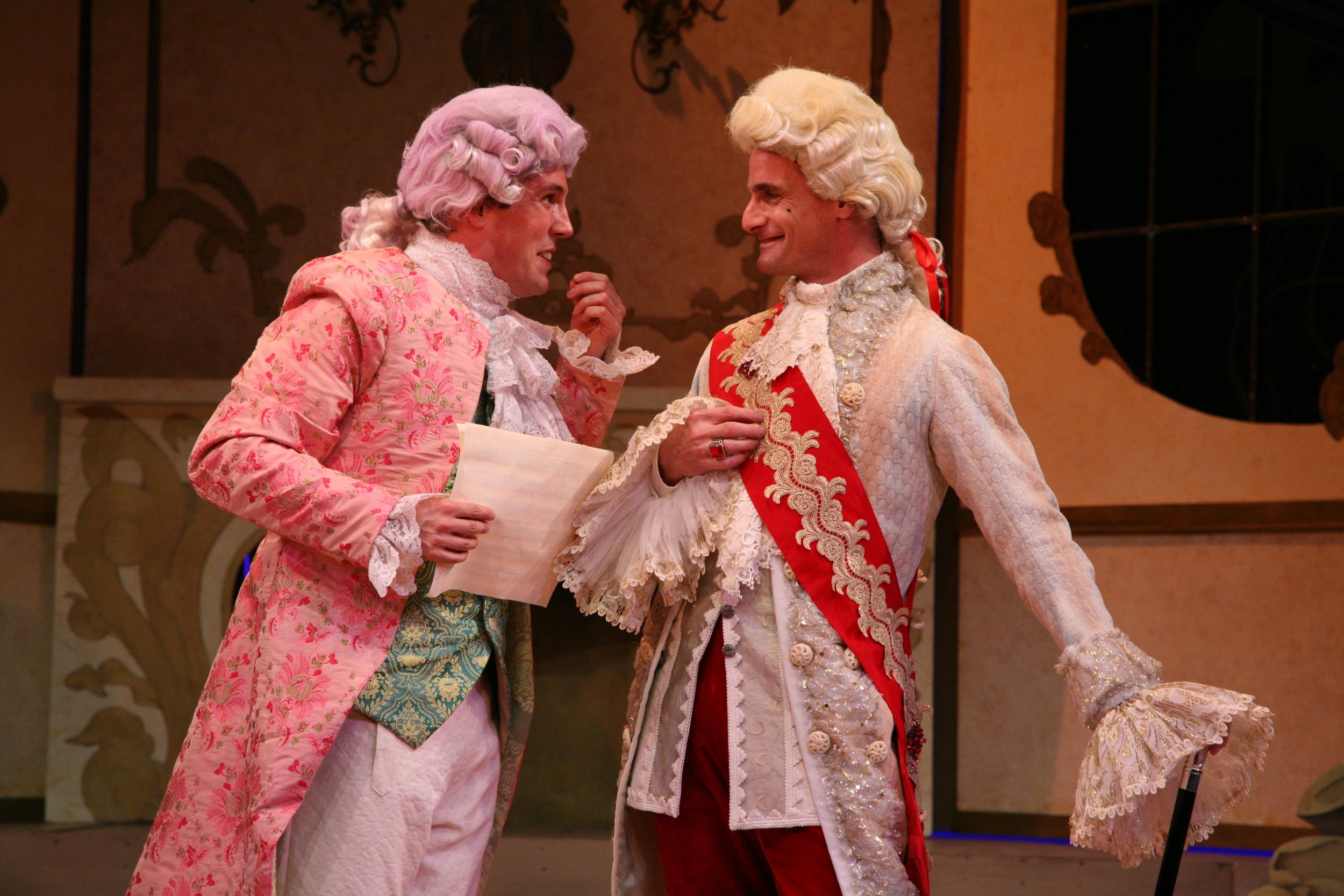 Amadeus - Mozart (Jordan Coughtry) and Emporer Joseph II (Mark Dold).JPG