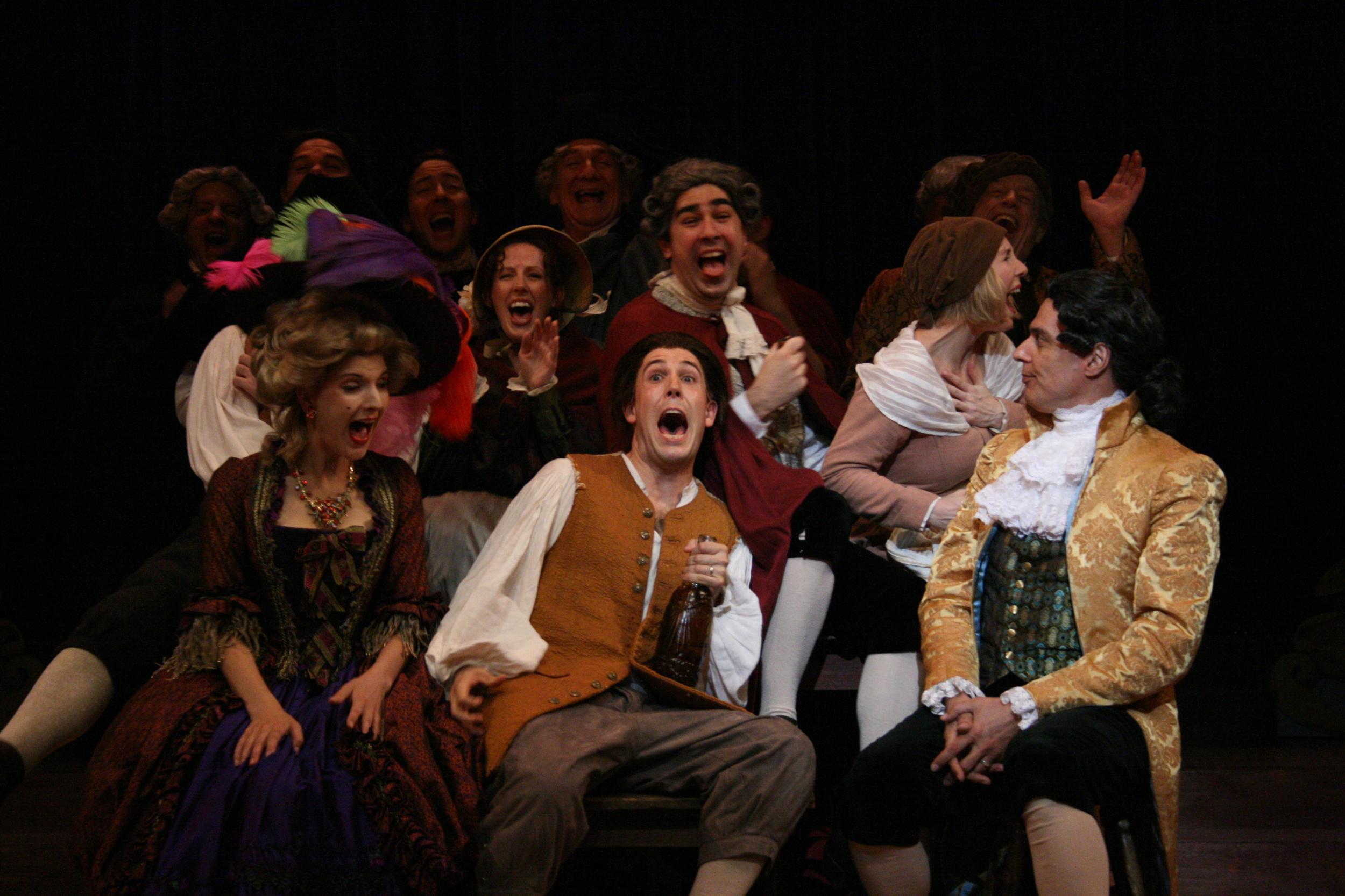 Amadeus - Front Row - Katherina Cavalieri (Katie Fabel), Mozart (Jordan Coughtry), Salieri (Robert Cuccioli) and Ensemble.jpg