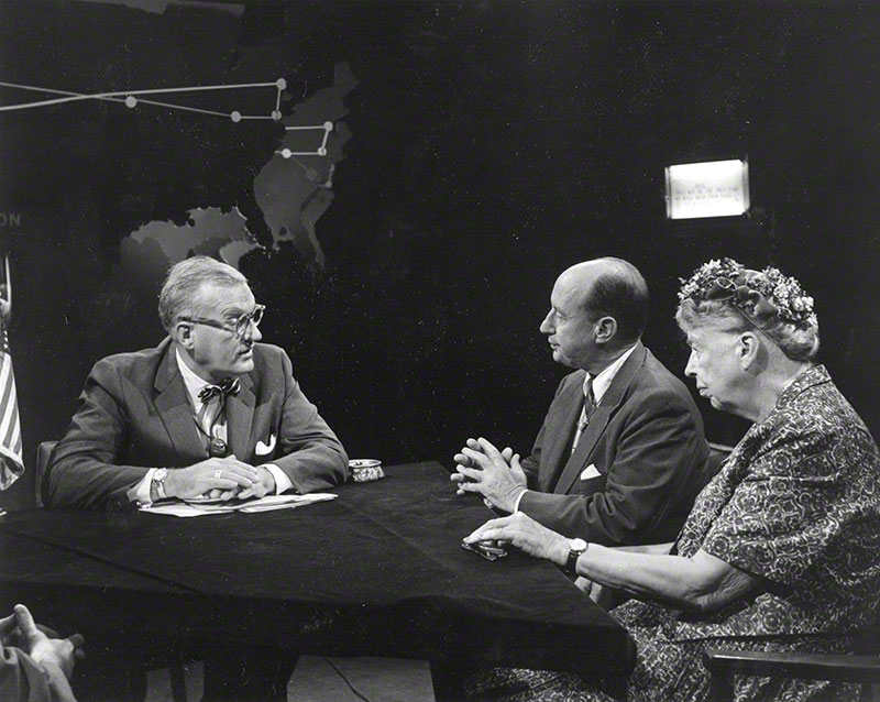 Eleanor Roosevelt and Adlai Stevenson at the interview table with Dave Garroway