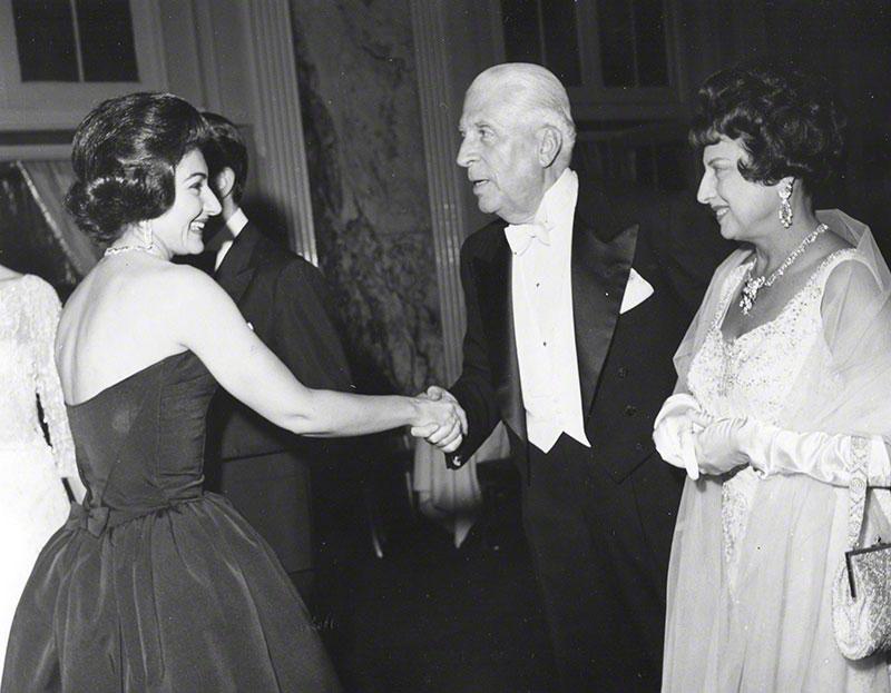 Mr. & Mrs. Buitoni greeting Callas at the Embassy Ball, following Mr. Buitoni's performance at Carnegie Hall