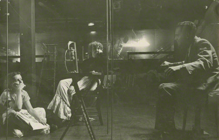 José Quintero and Geraldine Page (far left) in rehearsal for Summer and Smoke (1952)