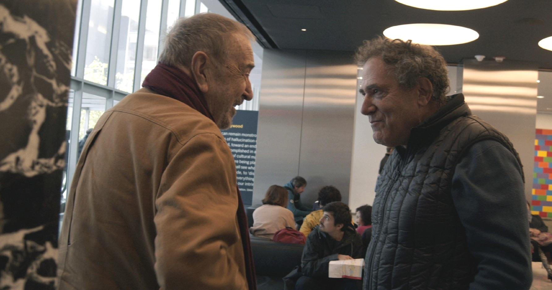 Jean-Claude Carrière and Jon Gartenberg at the museum of modern art retrospective of Carrière's films, 2019