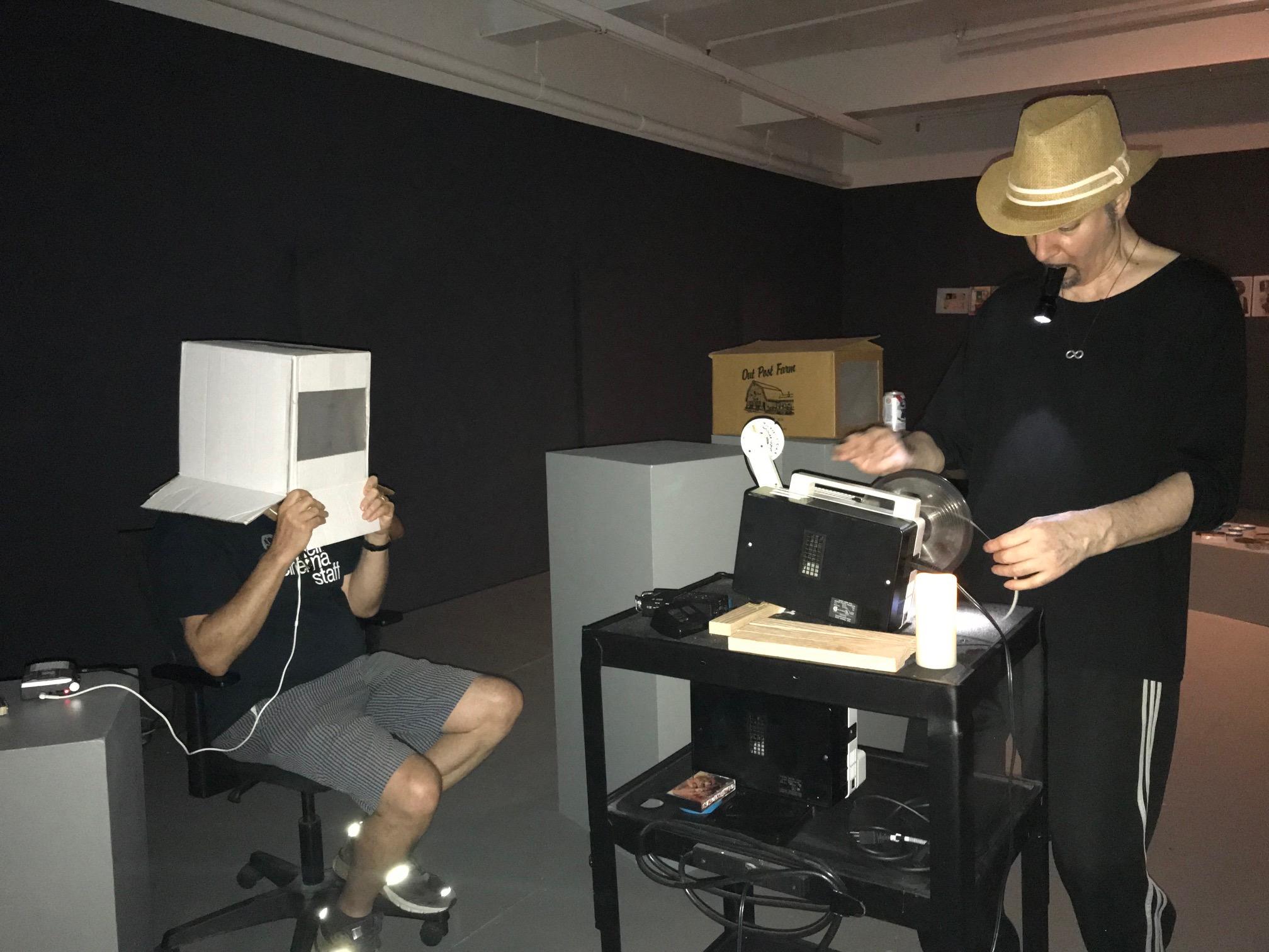 Jon Gartenberg heads into BRADLEY EROS' Invisible Cinema orgone  MovieHeadBox  (Photo by Peter Cramer)