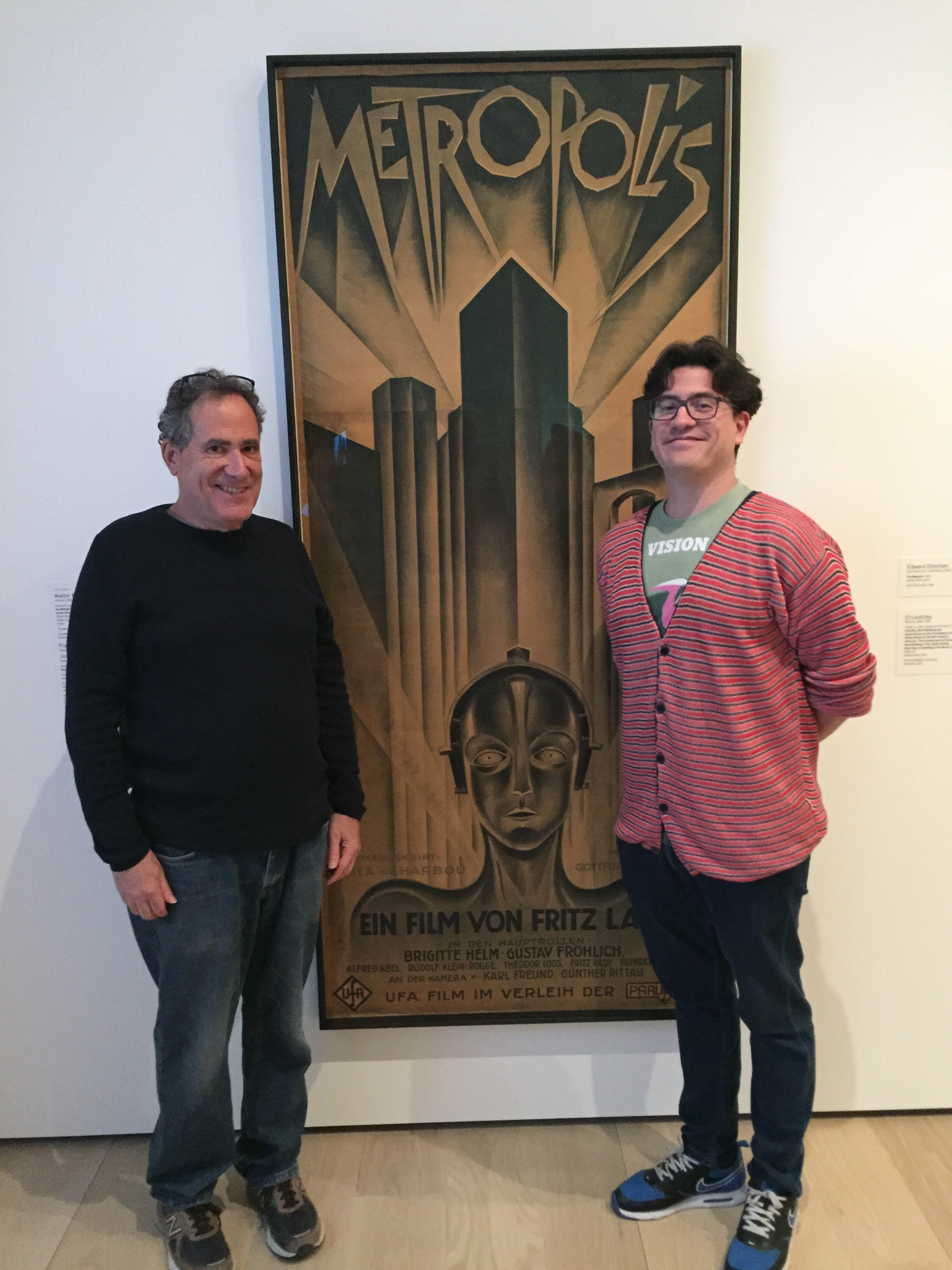 Jon Gartenberg, GME PResident and Juan Manuel Dominguez, bafici programmer in front of an extremely rare poster from METROPOLIS (1927)