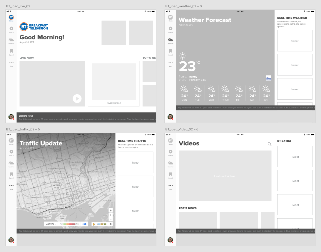 Wireframes for Ipad