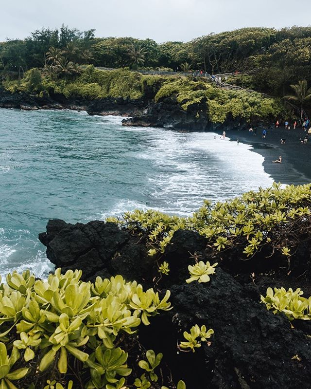 [4/9 Hawaii] Another awesome black sand beach (besides Iceland) I went to is in Waianapanapa state park, Maui! They both have the black sand, but this one has a completely different vibe! 🏝 - - - - #vsco #visualgang #visualsoflife #launchdsigns #peoplescreatives #moodygrams #illgrammers #streetmagazines  #viewbugfeature #justgoshoot #instagood #igmasters #neverstopexploring #streets_vision5k #streets_vision #MobileMag #everydayfoto #huffpostgram #artofvisuals #ig_masterpiece #agameoftones #mauihawaii #superhubs #everydayeveryphoto #theIMAGED #fatalframes #fubiztravel #visualsoflife #hawaii #waianapanapastatepark #maui