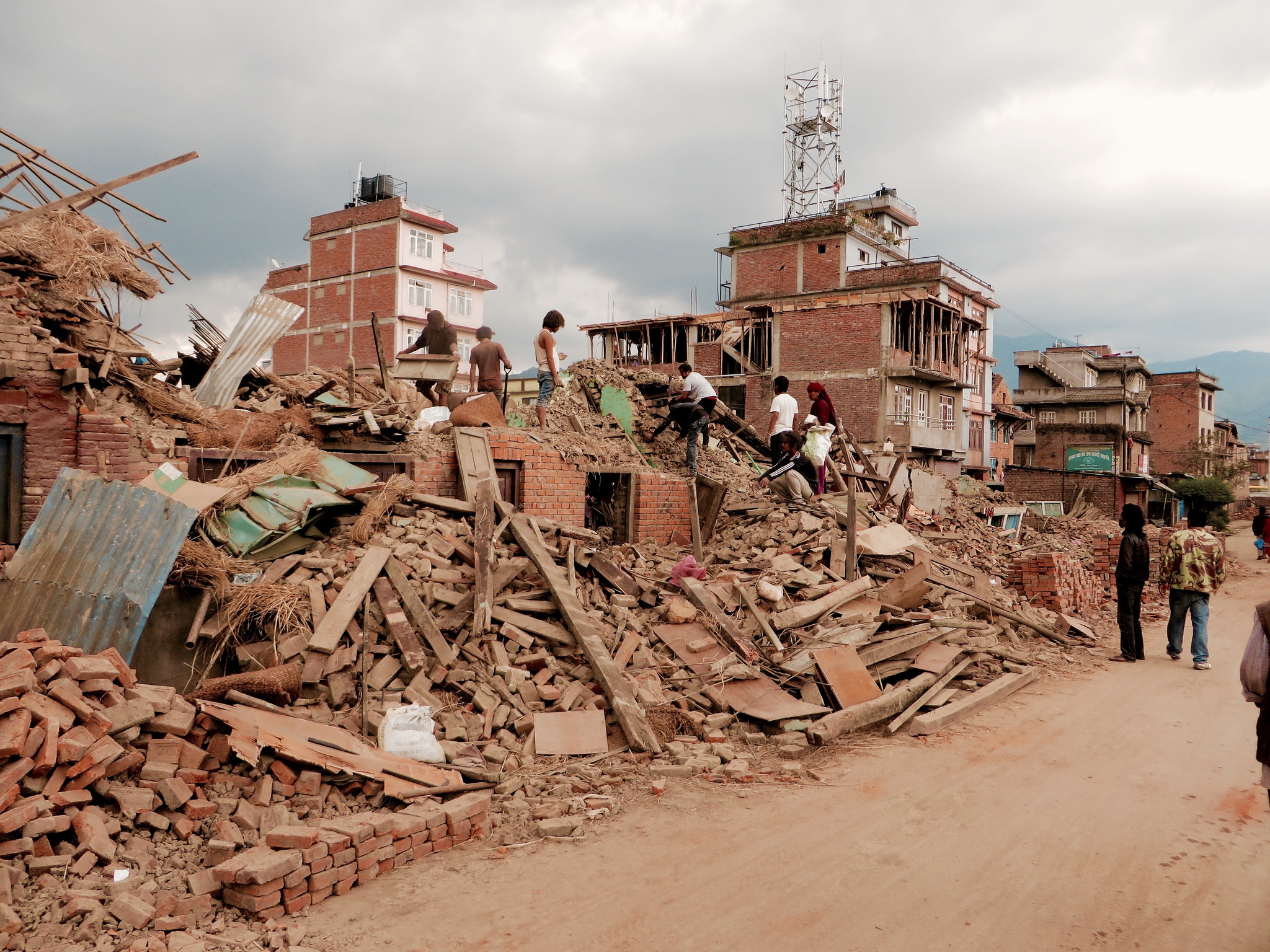 Rescue efforts are underway in Kathmandu where many people have been killed or injured. Photo by Gabriel Jens