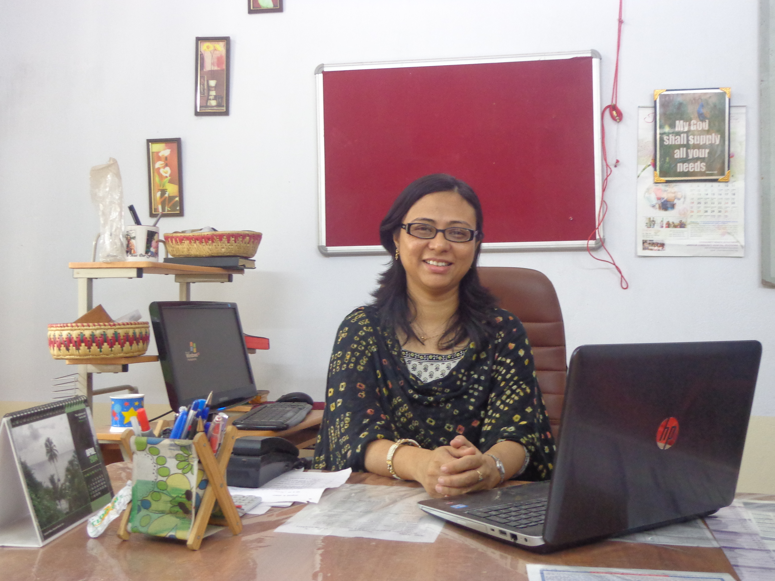 Vandana's office is rarely quiet, as staff members, project managers, and community members bustle in out and with questions, problems, and a desire to connect with her - Photo courtesy of Dr. Vandana.