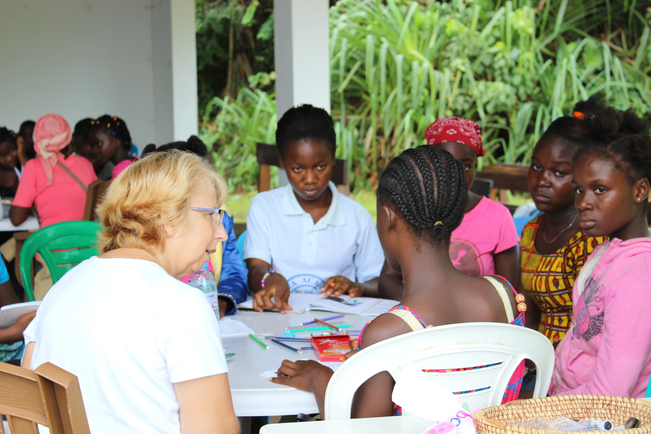 Nancy Writebol leads a training session for facilitators who will counsel children affected by Ebola.- Photo by Beth Fankhauser.