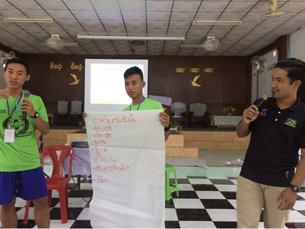 Pbeemai helping facilitate a Sports Friends Basic Training - photo courtesy of Pbeemai Yindeeram.