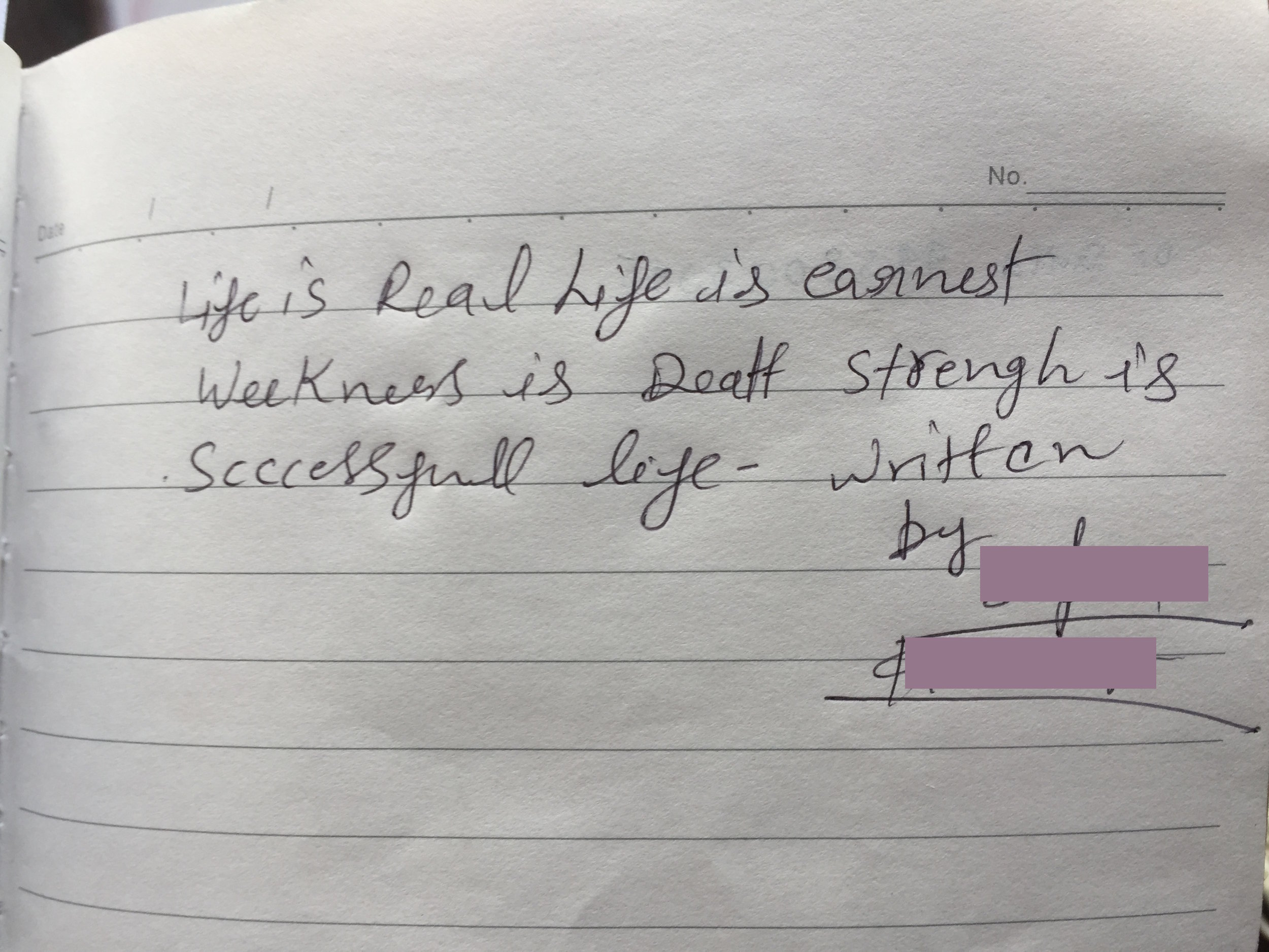 What Shalini wrote in my notebook. - Photo courtesy of Korisa.