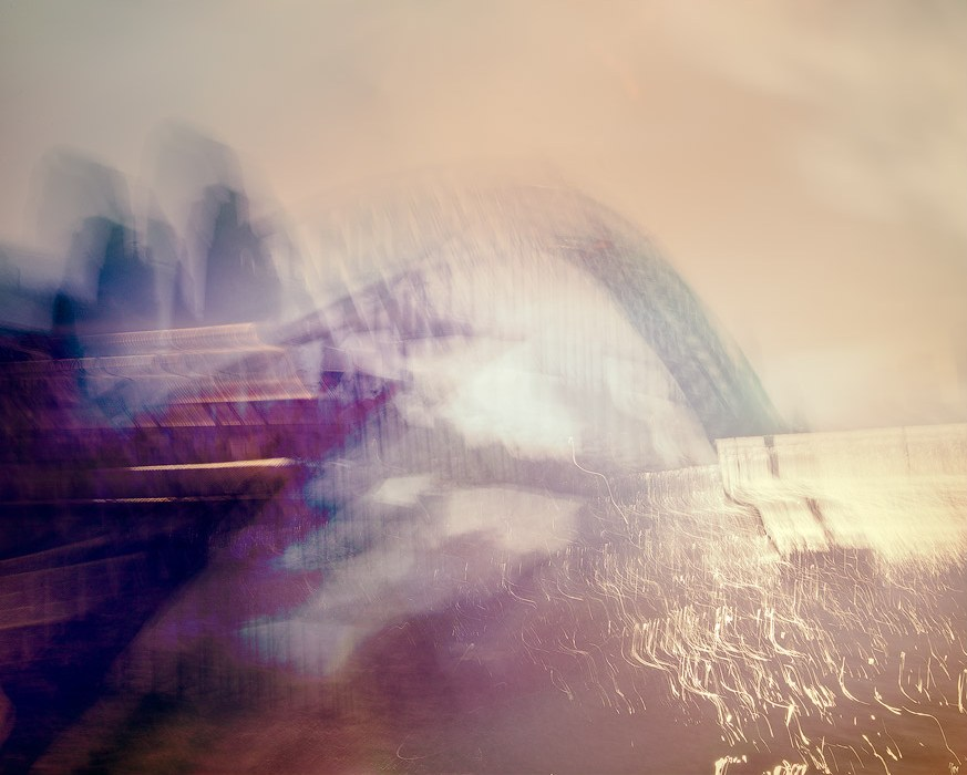An abstract view of Sydney Harbour created using the Intentional Camera Movement technique. Note what happened with the specular highlights on the water in the bottom right, but in this case I think it works.
